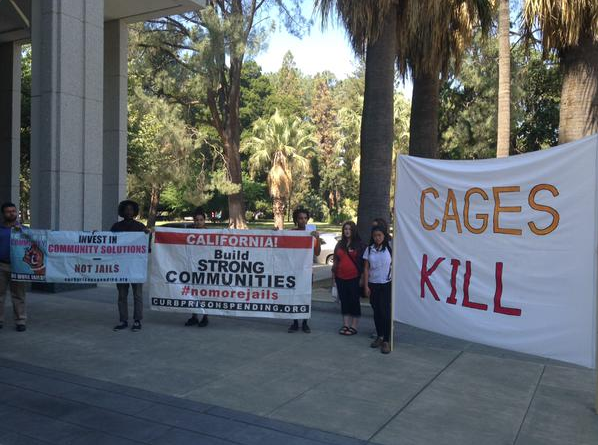 rally outside BSCC Bidder's Conference