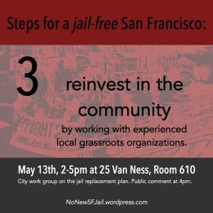 Reinvest in the community: Contracts for the construction and operation of any programs or facilities should contribute to the reinvestment of resources to San Francisco's neighborhoods, communities, and workers. Contracts should be made with local grassroots organizations that have proven experience in community service, advocacy, or organizing. The City has divested from many community based services and programs – alternative projects should work to reverse this trend.