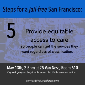 Provide equitable access to care: Any new programs or facilities created should be accessible to all and provide treatment on demand, regardless of whether or not the person has come into contact with law enforcement, been arrested, or been diverted. Similarly these programs and facilities should work towards being accessible to all people who have been arrested, regardless of type of charge or other classifications.