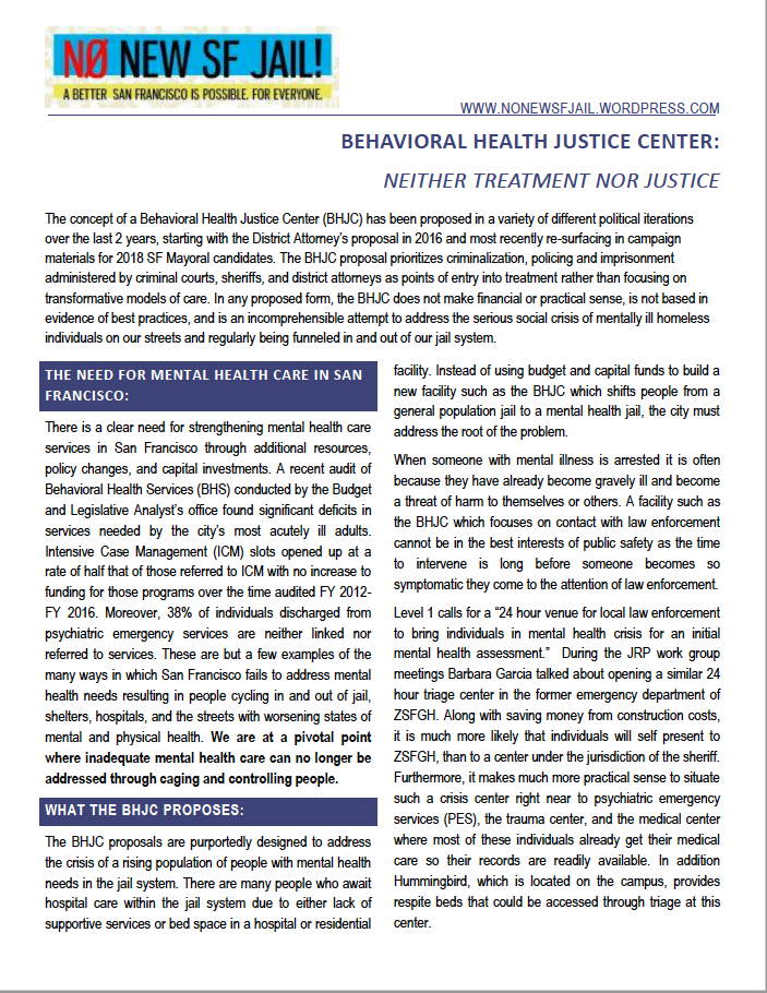 no to behavioral health justice center