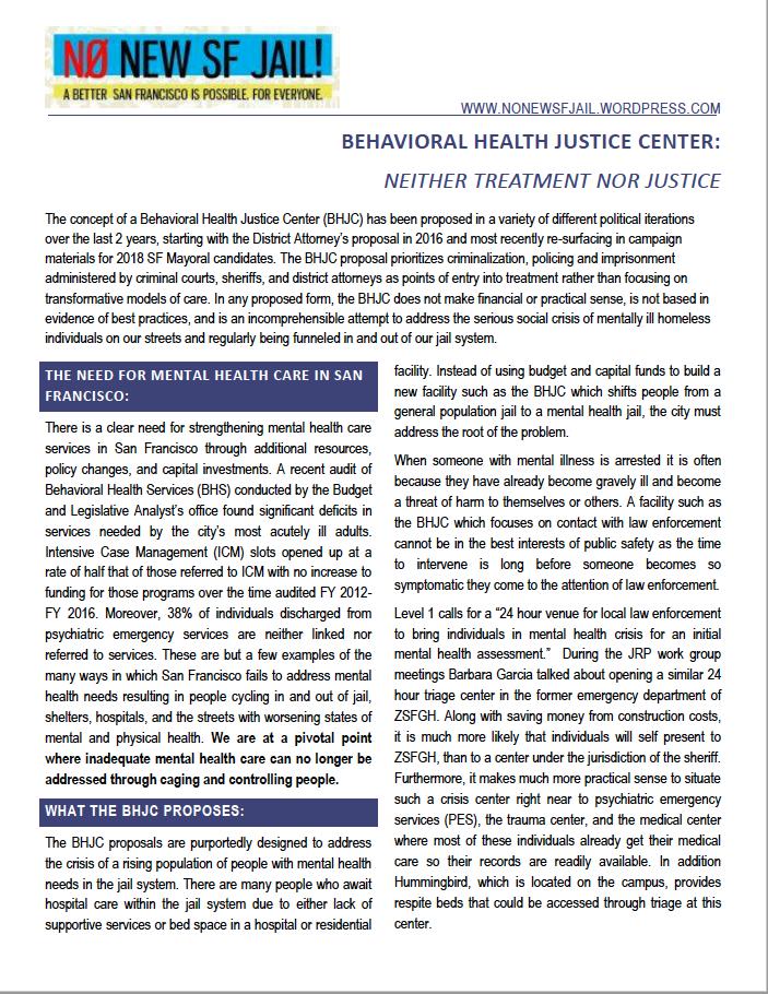 no to behavioral health justice center