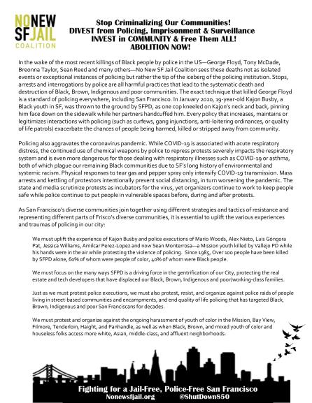 Stop Criminalizing Our Communities: NNSFJ Abolish Policing Statement (pdf here)